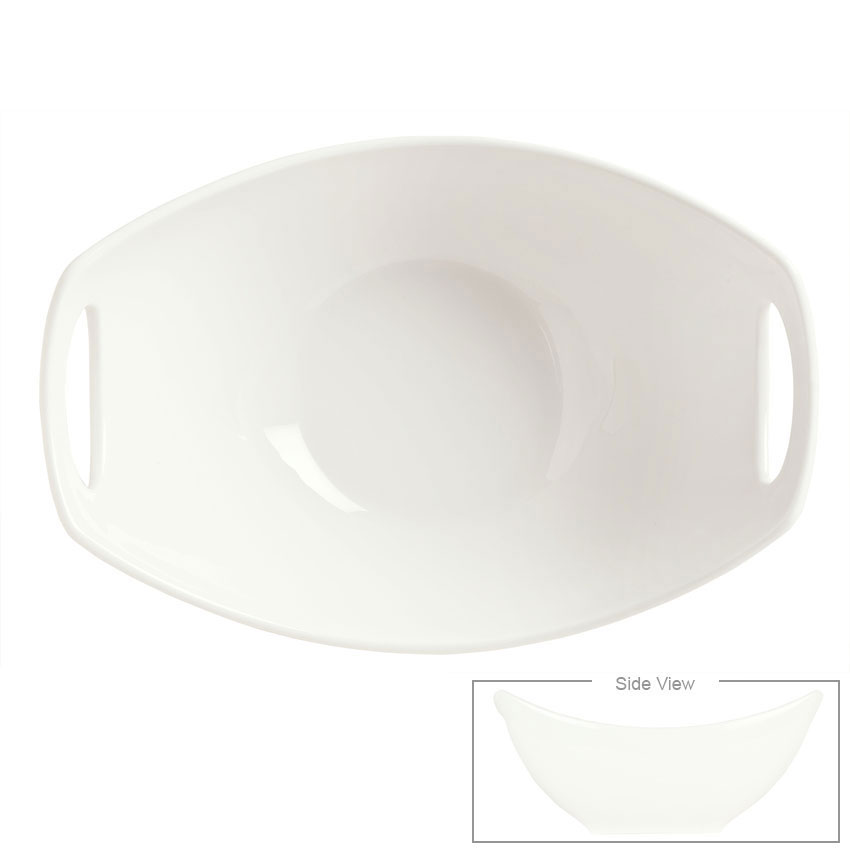 Syracuse China 905356410 30-oz Oval Slenda Bowl with Handles - Royal Rideau