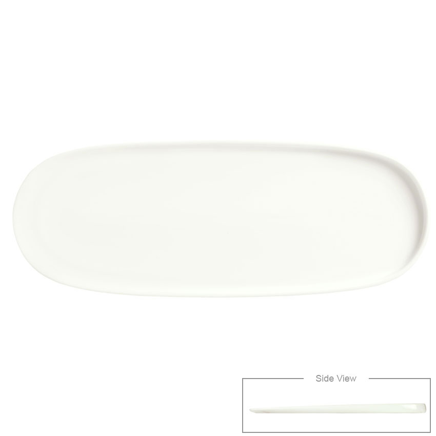 "Syracuse China 905356423 Oval Slenda Verve Tray - 15-1/8x5-3/4""' Royal Rideau"
