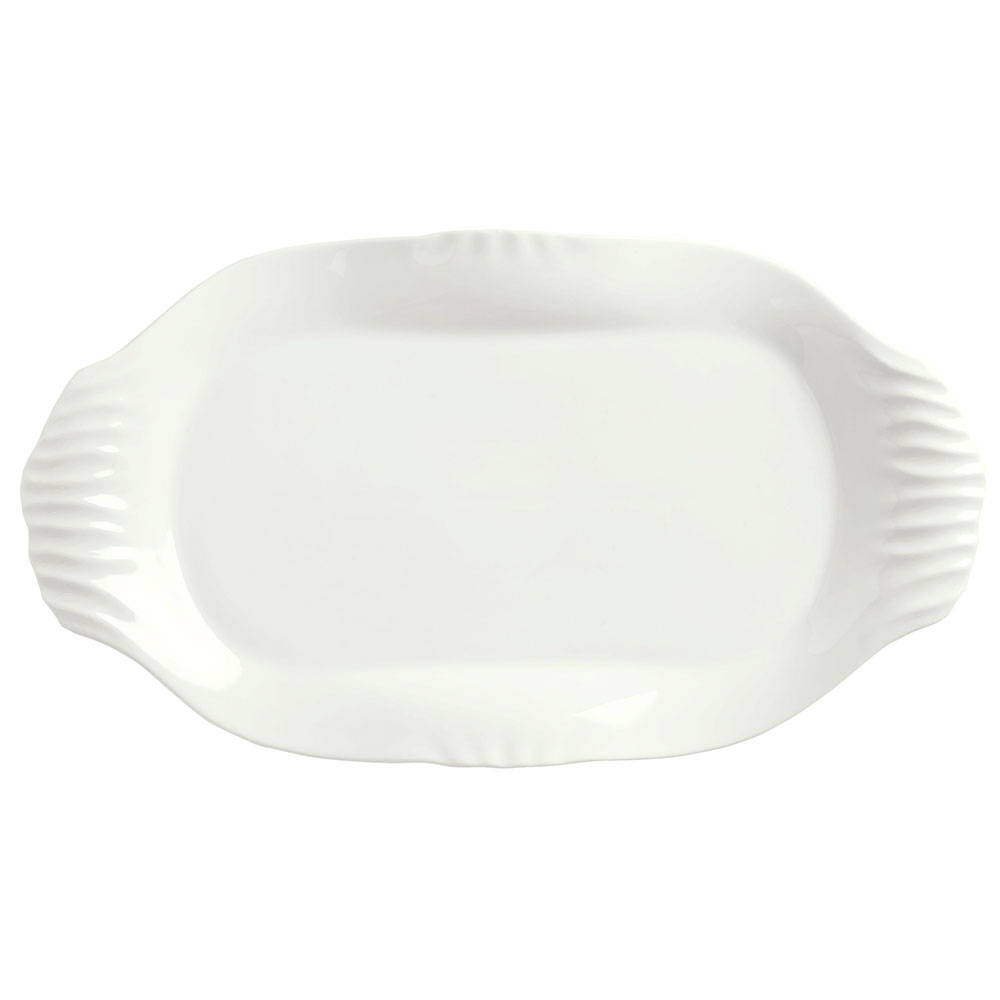 "Syracuse China 905356424 Oval Slenda Platter with Fluted Handles - 12-1/4x6-3/4"" Royal Rideau"