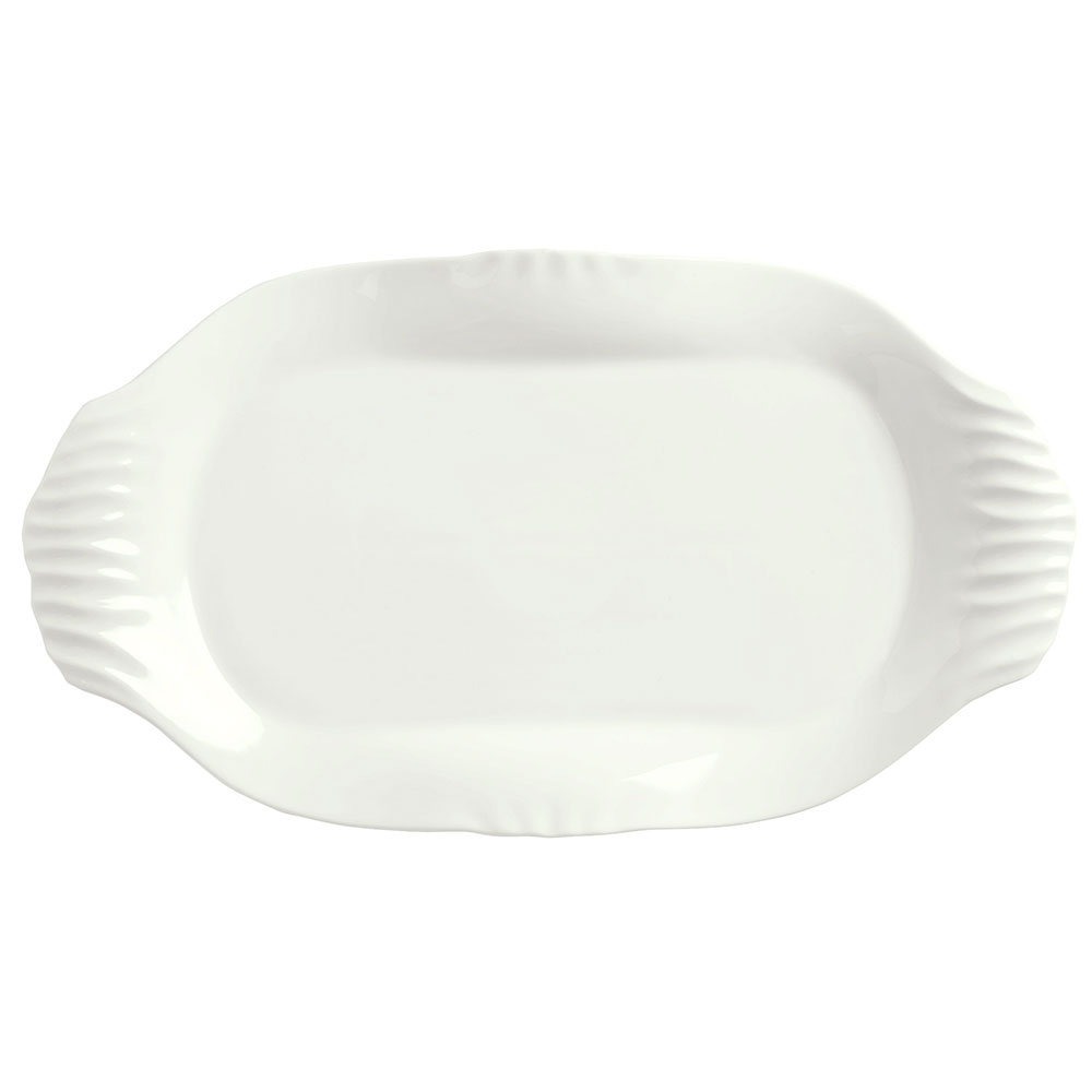 "Syracuse China 905356425 Oval Slenda Verve Platter with Fluted Handles - 15-1/4x8-1/2"" Royal Rideau"