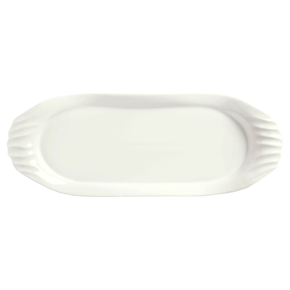 "Syracuse China 905356426 Oval Slenda Tray with Fluted Handles - 14-1/4x5-1/4"" Royal Rideau"
