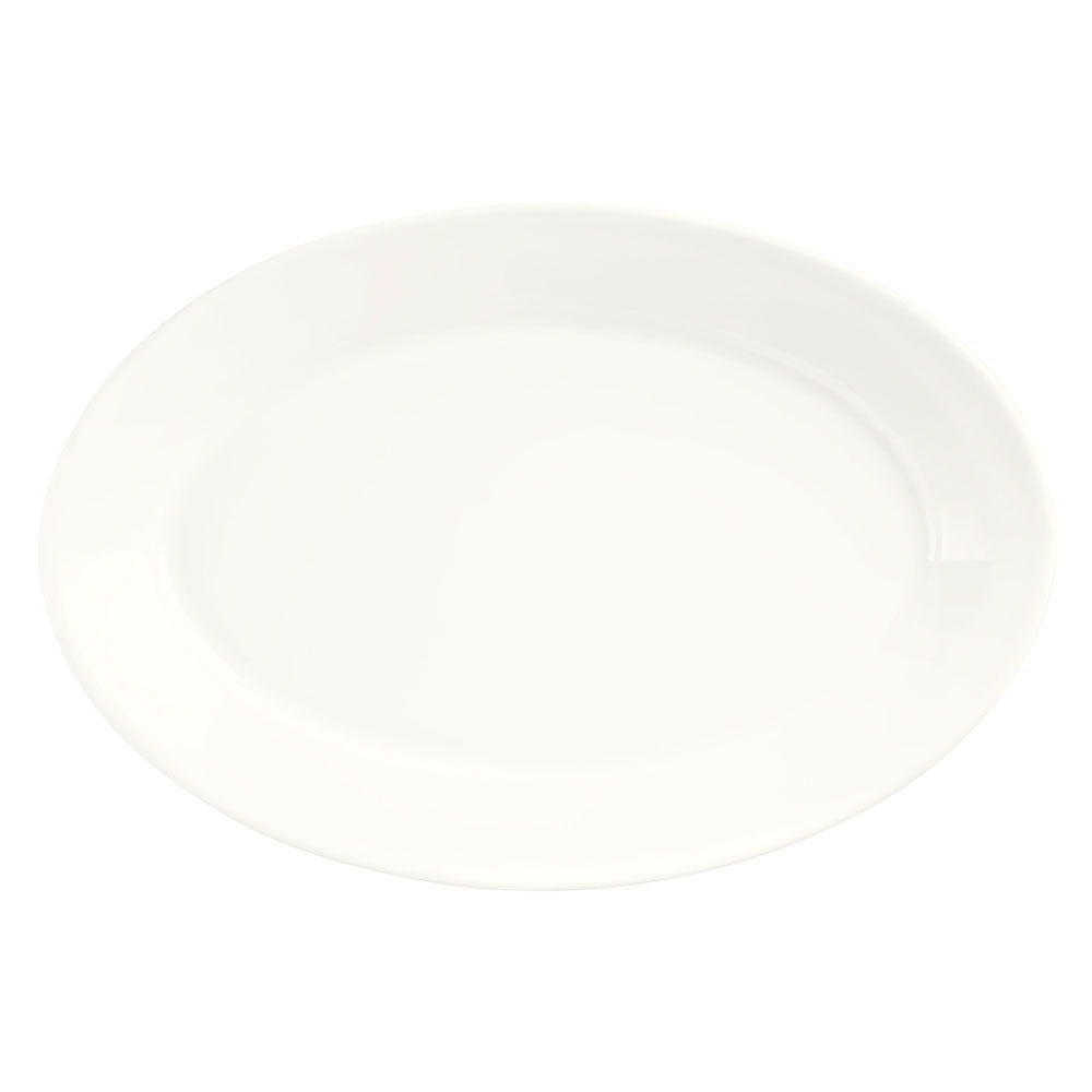 Syracuse China 905356823 Oval Wide Rimmed Platter w/ Slenda Pattern & Shape, Royal Rideau, 13.37x1.5""
