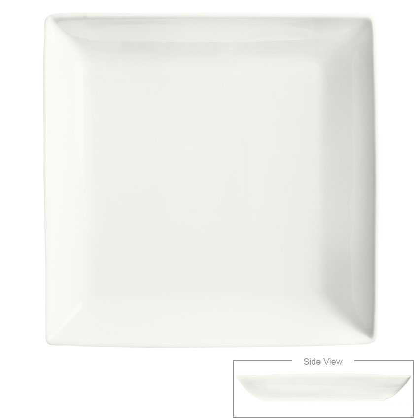 "Syracuse China 905356917 10-1/2"" Royal Rideau Square Plate - Coupe, Glazed, White"