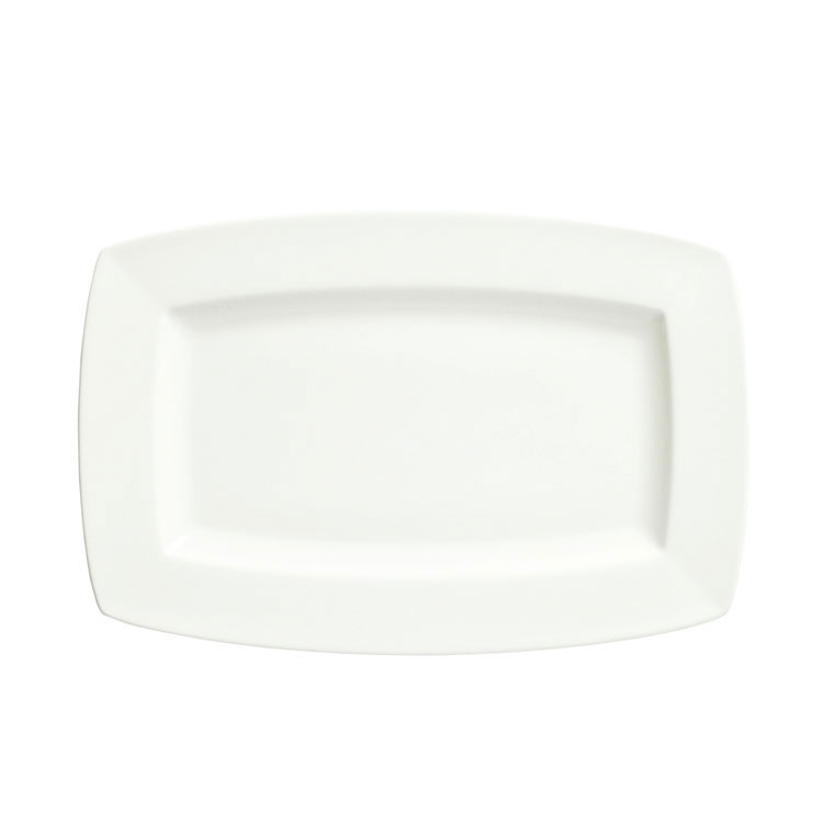 "Syracuse China 905356958 8"" Rectangular Plate w/ Slenda Pattern & Shape, Royal Rideau Body"