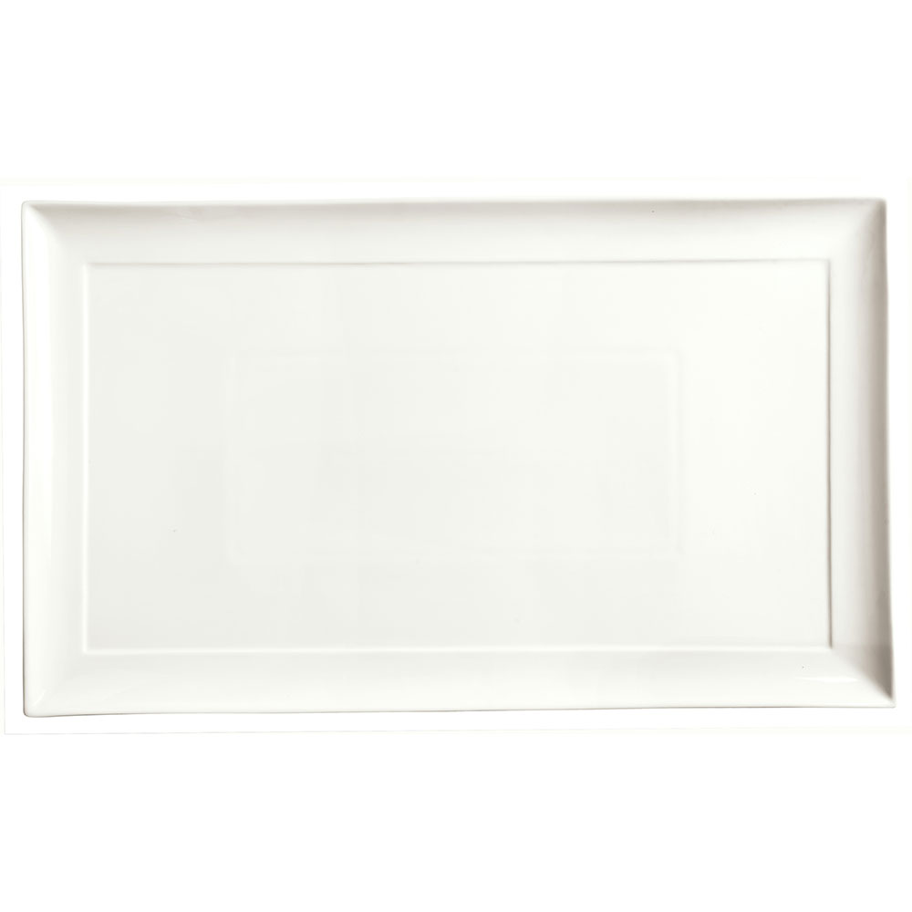"Syracuse China 905356991 20-1/4"" Royal Rideau Buffet Tray - Rectangular, Slenda, White"