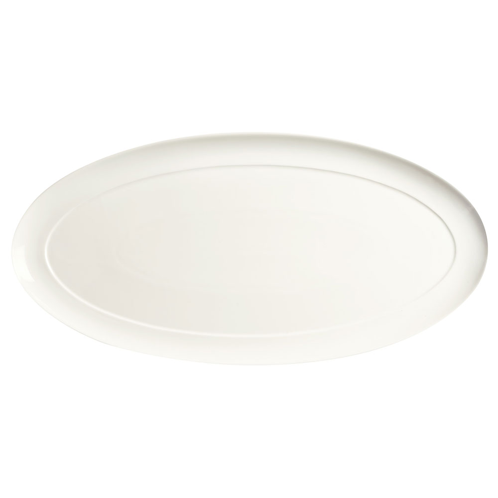"Syracuse China 905356992 22"" Royal Rideau Buffet Tray - Oval, Slenda, White"