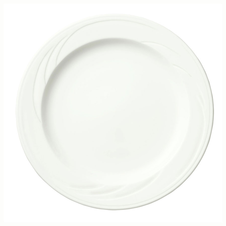 "Syracuse China 905437820 9"" Footed Plate w/ Medium Rim & Elan Pattern, Royal Rideau Body"