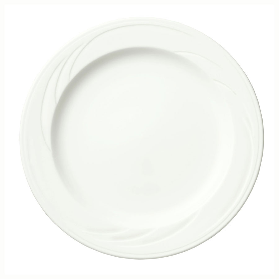 "Syracuse China 905437874 12"" Footed Plate w/ Medium Rim & Elan Pattern, Flat, Royal Rideau Body"