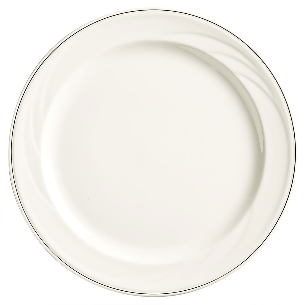 "Syracuse China 905437879 6.25"" Plate w/ Medium Rim & Elan Pattern, Flat, Royal Rideau Body"