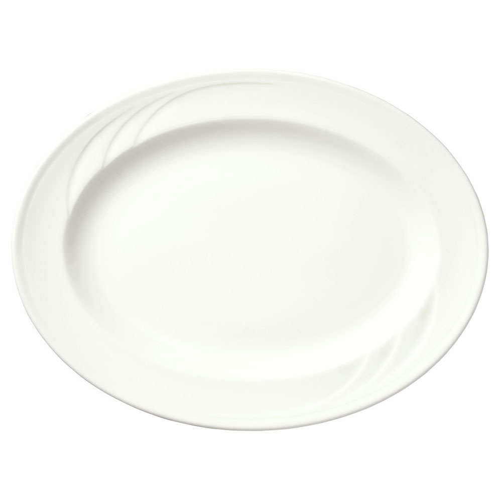 Syracuse China 905437883 Flat Profile Platter w/ Elan Pattern & Medium Rim, Royal Rideau, 13.5x10.5""