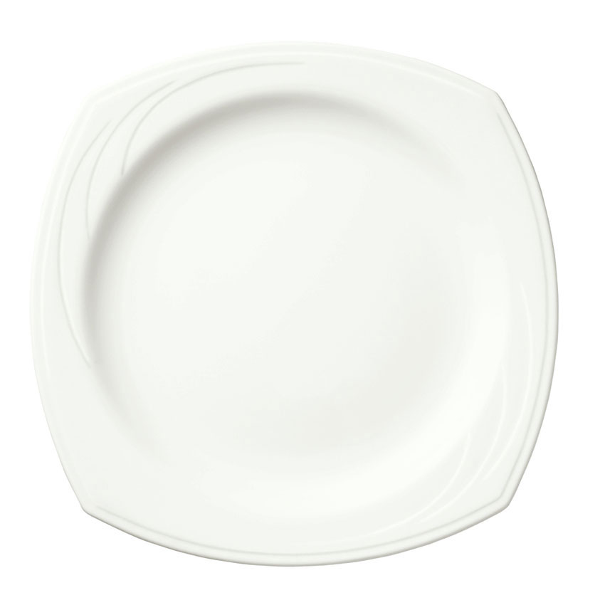 "Syracuse China 905437893 10.5"" Square Plate w/ Elan Pattern & Medium Rim, Flat, Royal Rideau Body"