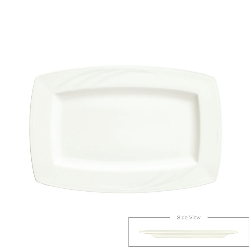 "Syracuse China 905437961 8"" Rectangular Plate w/ Elan Pattern & Royal Rideau Body"