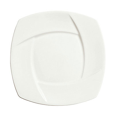 "Syracuse China 905482910 11.88"" Wide Rim Plate w/ Tangular Pattern & Shape, Thin, Royal Rideau Body, White"