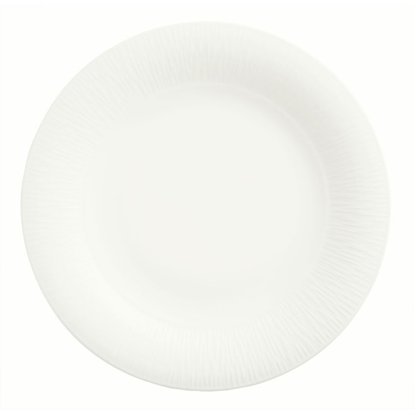 "Syracuse China 909089703 9"" Round Plate w/ Wide Rim, Under Ring & Royal Rideau Body, Glazed"