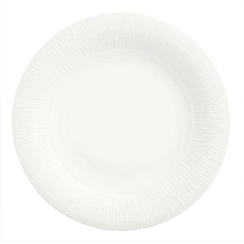 "Syracuse China 909089705 7.25"" Round Plate w/ Wide Rim, Under Ring & Royal Rideau Body, Glazed"