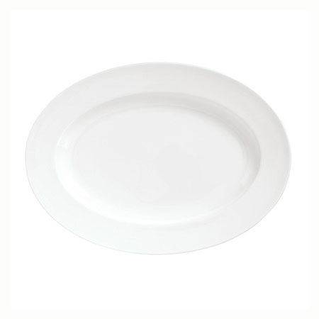 Syracuse China 911190007 Platter w/ International Pattern & Shape, White Bone China Body, 14.37x10.37-in