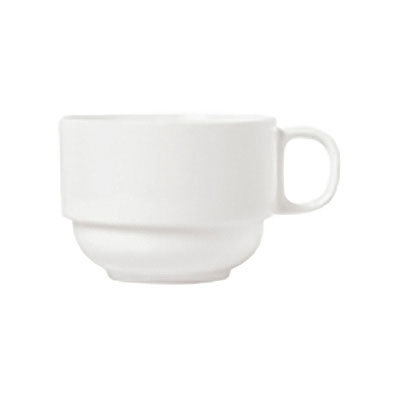 Syracuse China 911190032 8.5-oz Stacking Tea Cup w/ International Pattern & Shape, Ultra White Bone China
