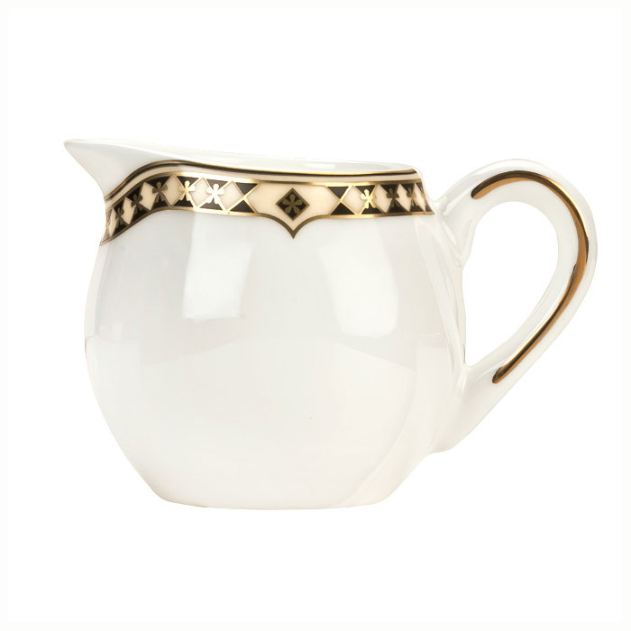 Syracuse China 911191009 9-oz Milk Pot w/ Baroque Pattern & International Shape, Bone China Body