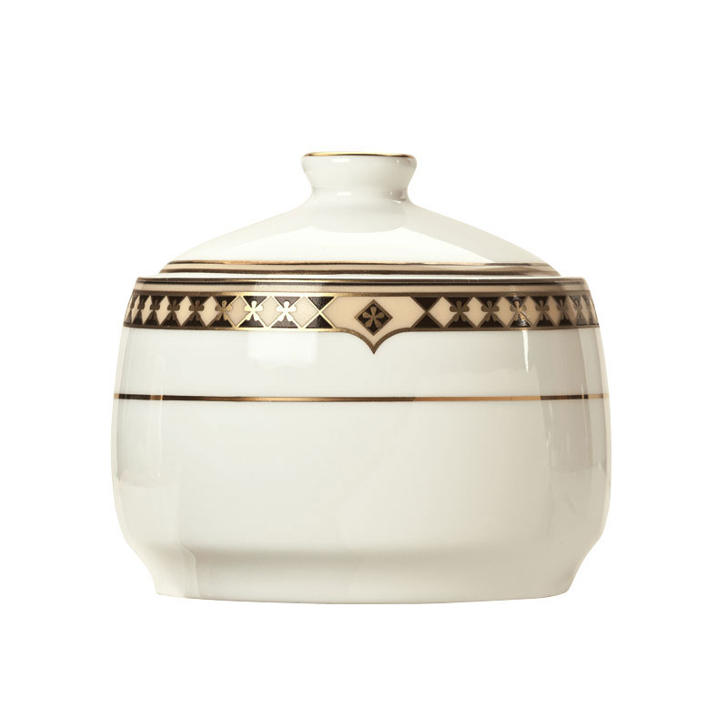 Syracuse China 911191010 10-oz Sugar Pot w/ Baroque Pattern & International Shape, Bone China Body