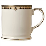 Syracuse China 911191013 9.75-oz Coffee Mug w/ Baroque Pattern & International Shape, Bone China Body