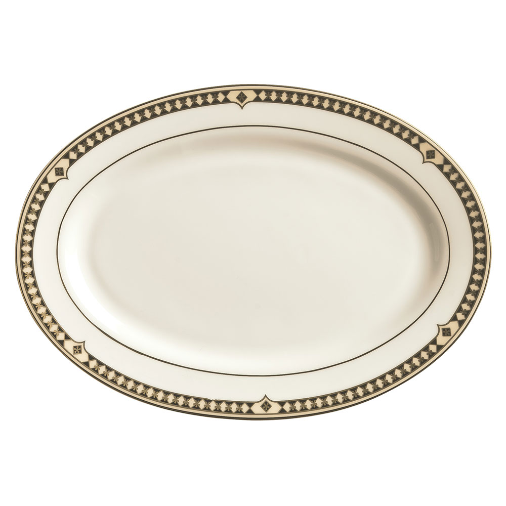 Syracuse China 911191023 Oval Platter w/ Baroque Pattern & International Shape, Bone China Body