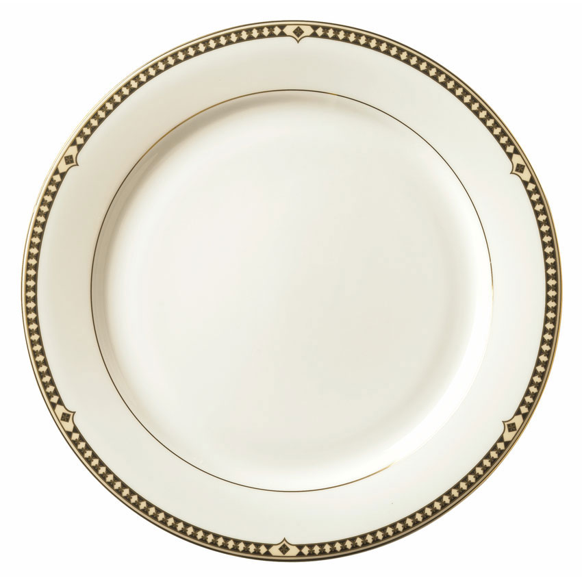 Syracuse China 911191025 11.37-in Dinner Plate w/ Baroque Pattern & International Shape, Bone China Body
