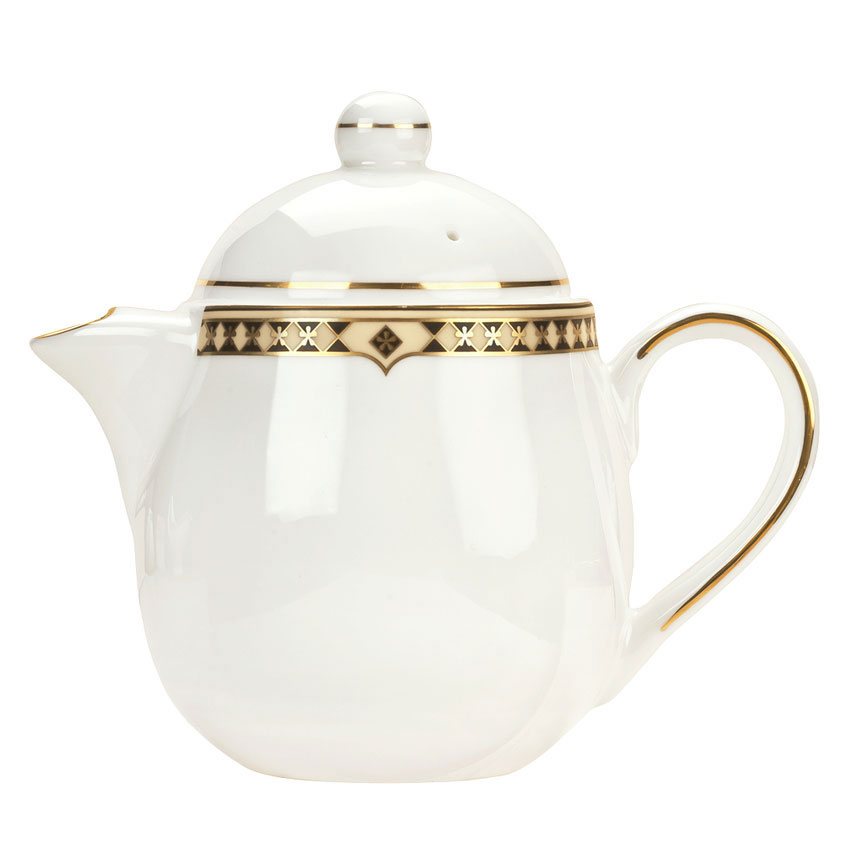 Syracuse China 911191040 15-oz Baroque Tea Pot - Lid, Glazed, White