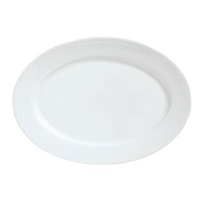 """Syracuse China 911194009 Platter w/ Reflections Pattern & Shape, 12.12x8.75"""", Alumawhite Body"""