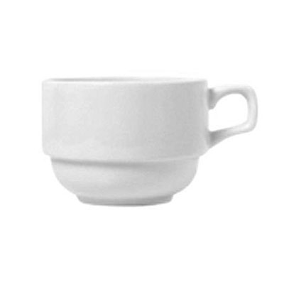 Syracuse China 911194016 8-oz Stacking Cup w/ Reflections Pattern & Shape, Alumawhite Body