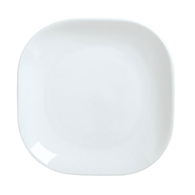 "Syracuse China 911194420 8"" Square Plate, Coupe, w/ Reflections Pattern & Shape, Alumawhite Body"