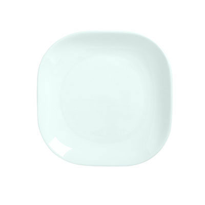 "Syracuse China 911194421 9"" Square Plate, Coupe, w/ Reflections Pattern & Shape, Alumawhite Body"