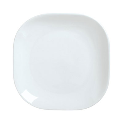 "Syracuse China 911194422 10"" Square Plate, Coupe, w/ Reflections Pattern & Shape, Alumawhite Body"
