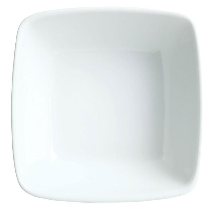 Syracuse China 911194431 13.5-oz Square Bowl w/ Reflections Pattern & Shape, Alumawhite Body