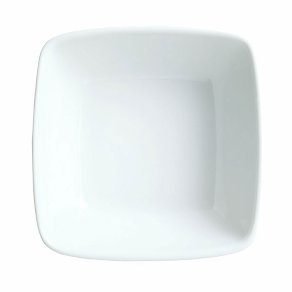 Syracuse China 911194432 6.75-oz Square Bowl w/ Reflections Pattern & Shape, Alumawhite Body
