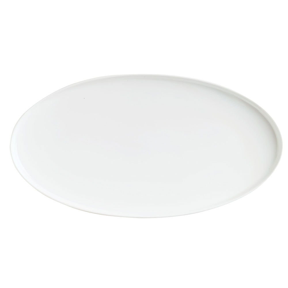 Syracuse China 911194484 Oval Tray w/ Reflections Pattern & Shape, Alumawhite Body, 14x7.5x1.12""