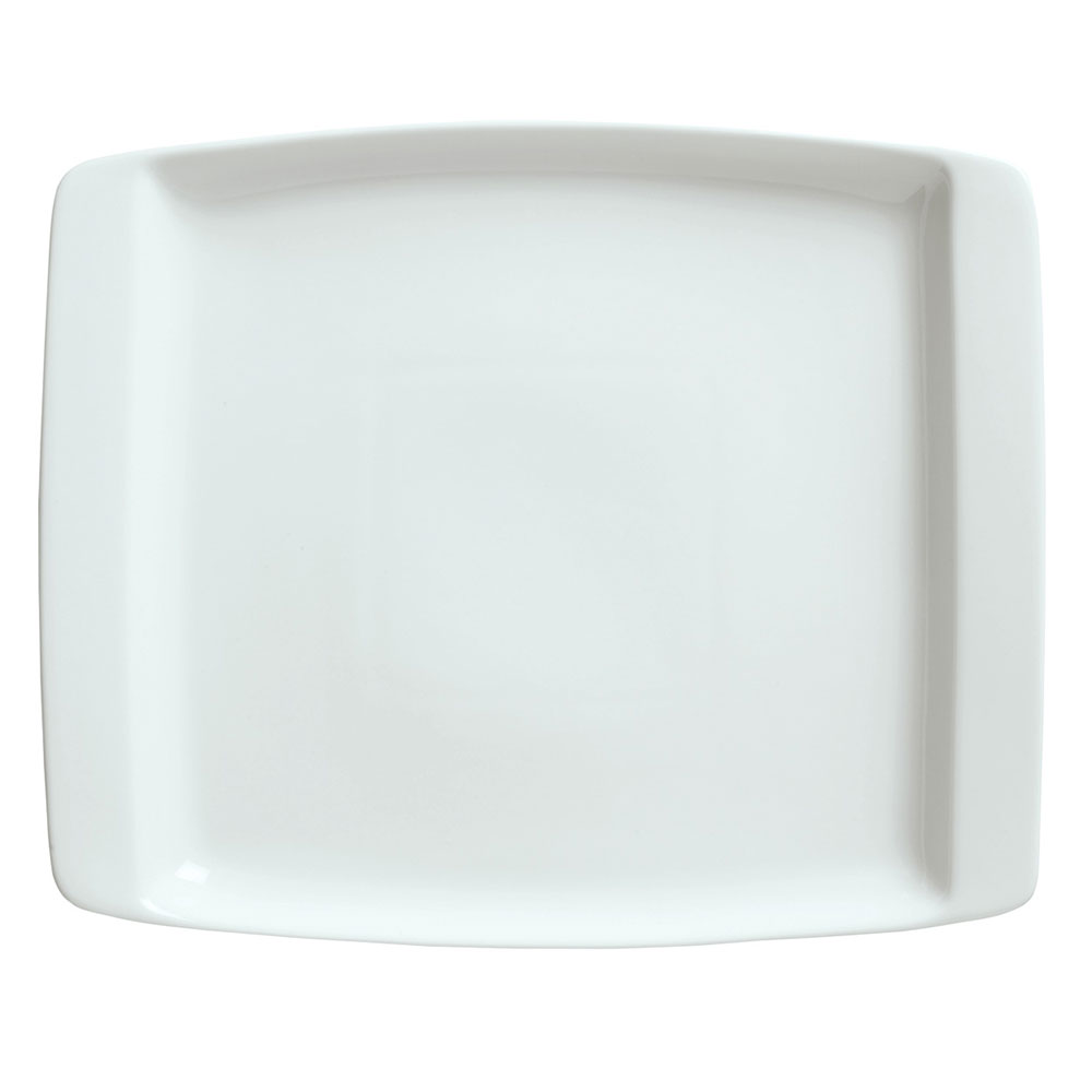 Syracuse China 911194491 13.25-in Handled Platter w/ Reflections Pattern & Shape, Alumawhite Body