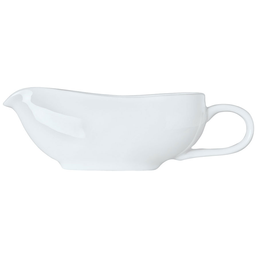 Syracuse China 911194507 6-oz Reflections Sauce Boat - Glazed, Looped Handle, Aluma White