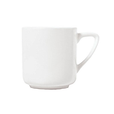 Syracuse China 911195015 10-oz Cup w/ Contempra Pattern & Square Shape, Bone China Body