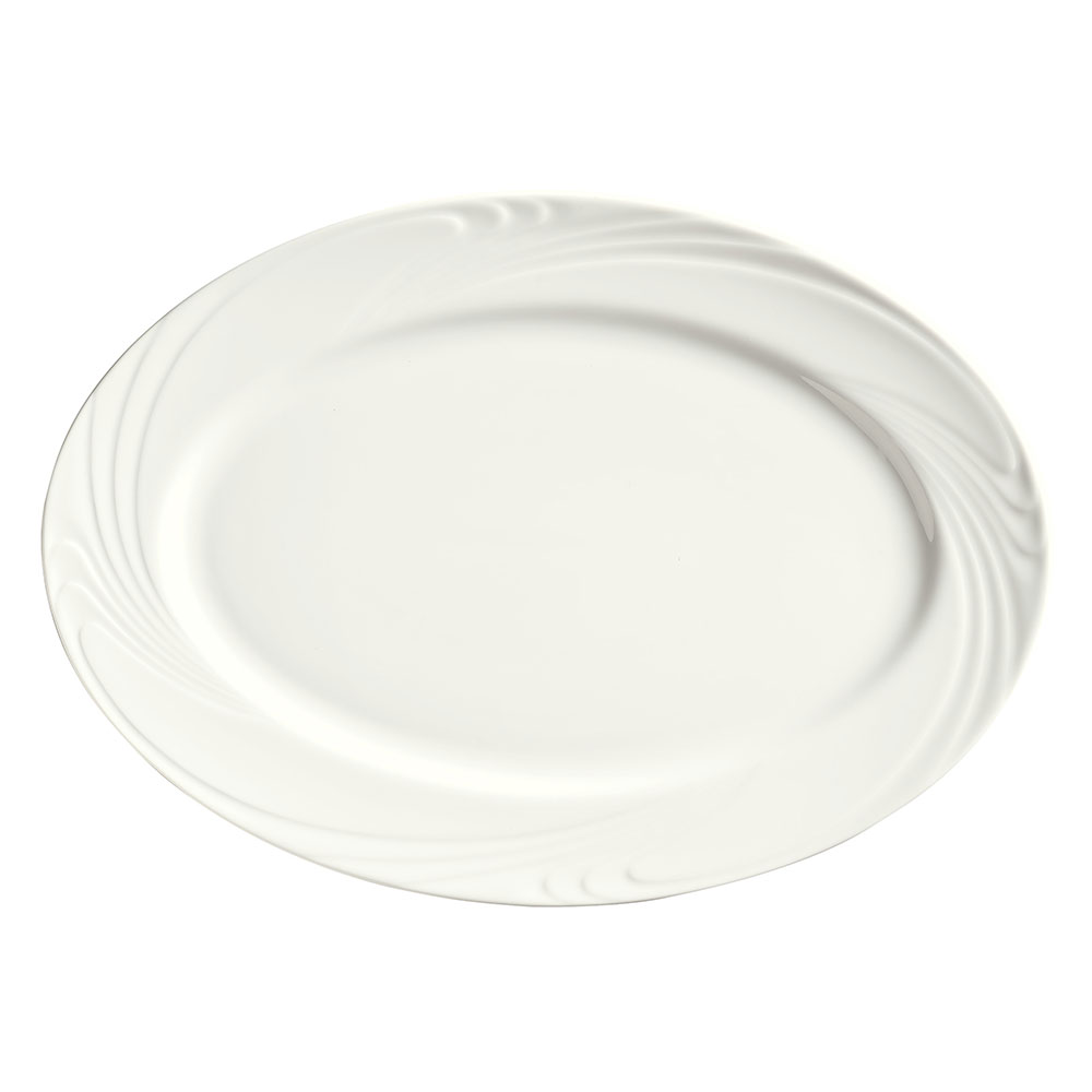 "Syracuse China 911892009 12-1/4"" Ocean Shore Platter - Oval, Glazed, Aluma White"