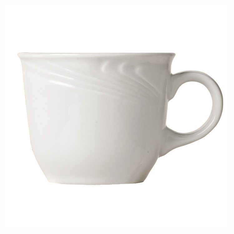 "Syracuse China 911892015 8-oz Ocean Shore Cup - 3-3/8"" Diameter Glazed, Porcelain, Aluma White"