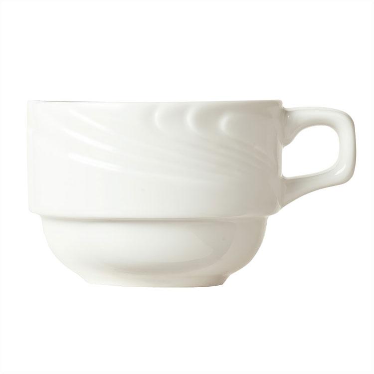"Syracuse China 911892016 8-oz Ocean Shore Cup - 3-1/2"" Diameter Glazed, Porcelain, Aluma White"