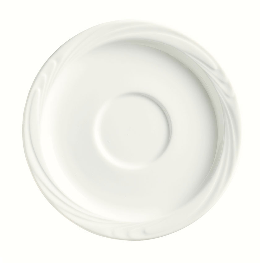 "Syracuse China 911892021 5-3/4"" Ocean Shore Saucer - Round, Glazed, Aluma White"