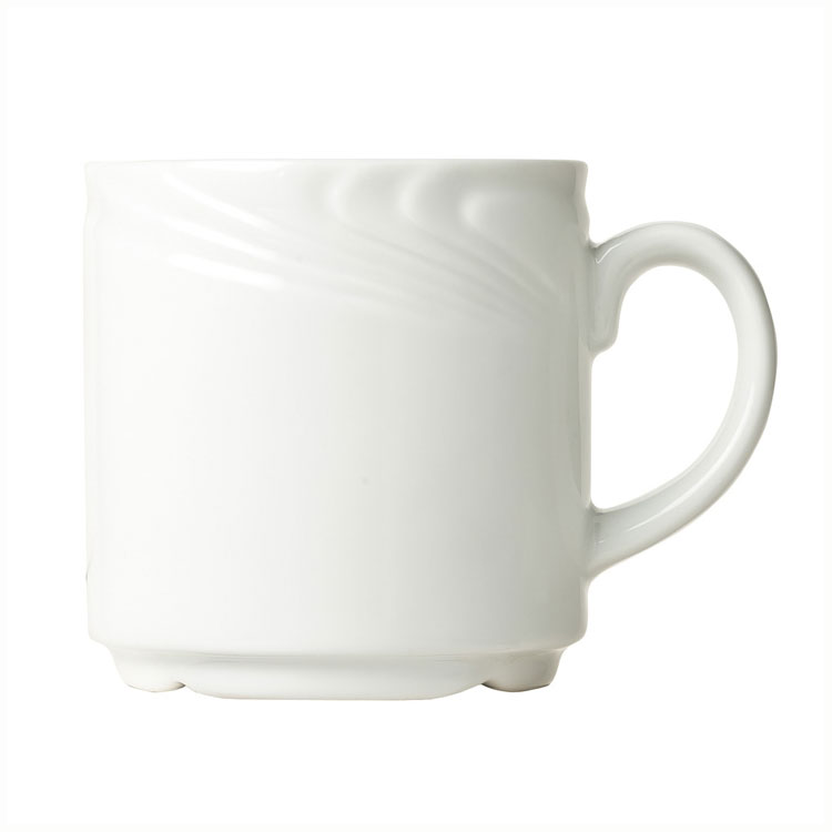 Syracuse China 911892040 12-oz Ocean Shore Mug - Glazed, Aluma White