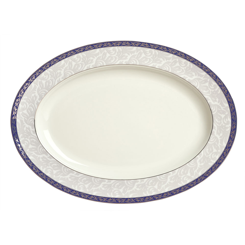 "Syracuse China 912345007 14-3/8"" Scarborough Platter - Oval, Glazed, White"