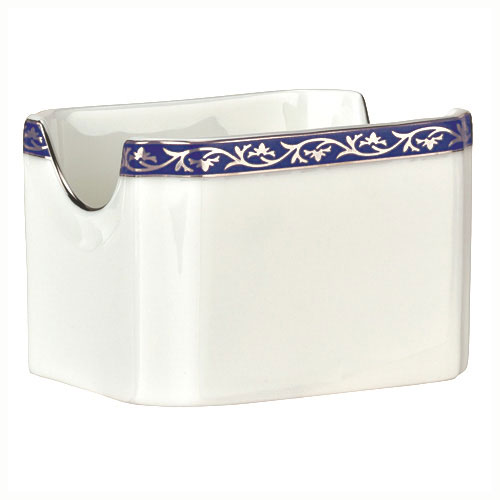 "Syracuse China 912345029 3"" Scarborough Sugar Packet Holder - Rectangular, Glazed, White"
