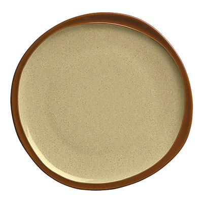 Syracuse China 922222351 Plate w/ Organic Shape & Narrow Rim, Terracotta Clay, Pine, 9x1-in