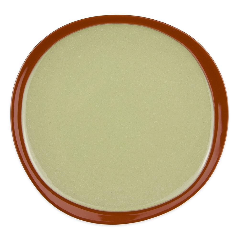 "Syracuse China 922224351 Organic Shaped Plate w/ Narrow Rim, Terracotta Clay, 2-Tone, 9x1"", Fern"