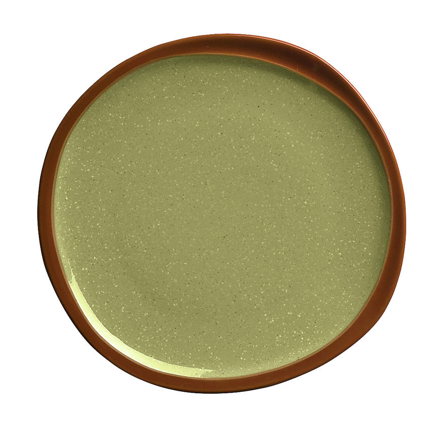 "Syracuse China 922224358 12"" Terracotta Plate - Organic Shape, 2-Tone Fern/Green"