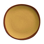 Syracuse China 922226351 Organic Shaped Plate w/ Narrow Rim, Terracotta, 9x 1-in, Mustard Seed Yellow