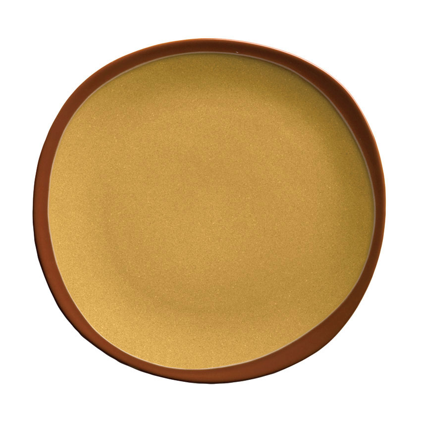 Syracuse China 922226350 Organic Shaped Plate w/ Narrow Rim, Terracotta, 6.37x .5-in, Mustard Seed Yellow